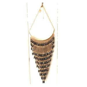 Charcoal and gold statement necklace